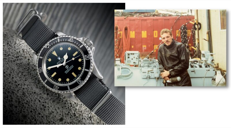 Rolex Military Submariner watch with its diver owner