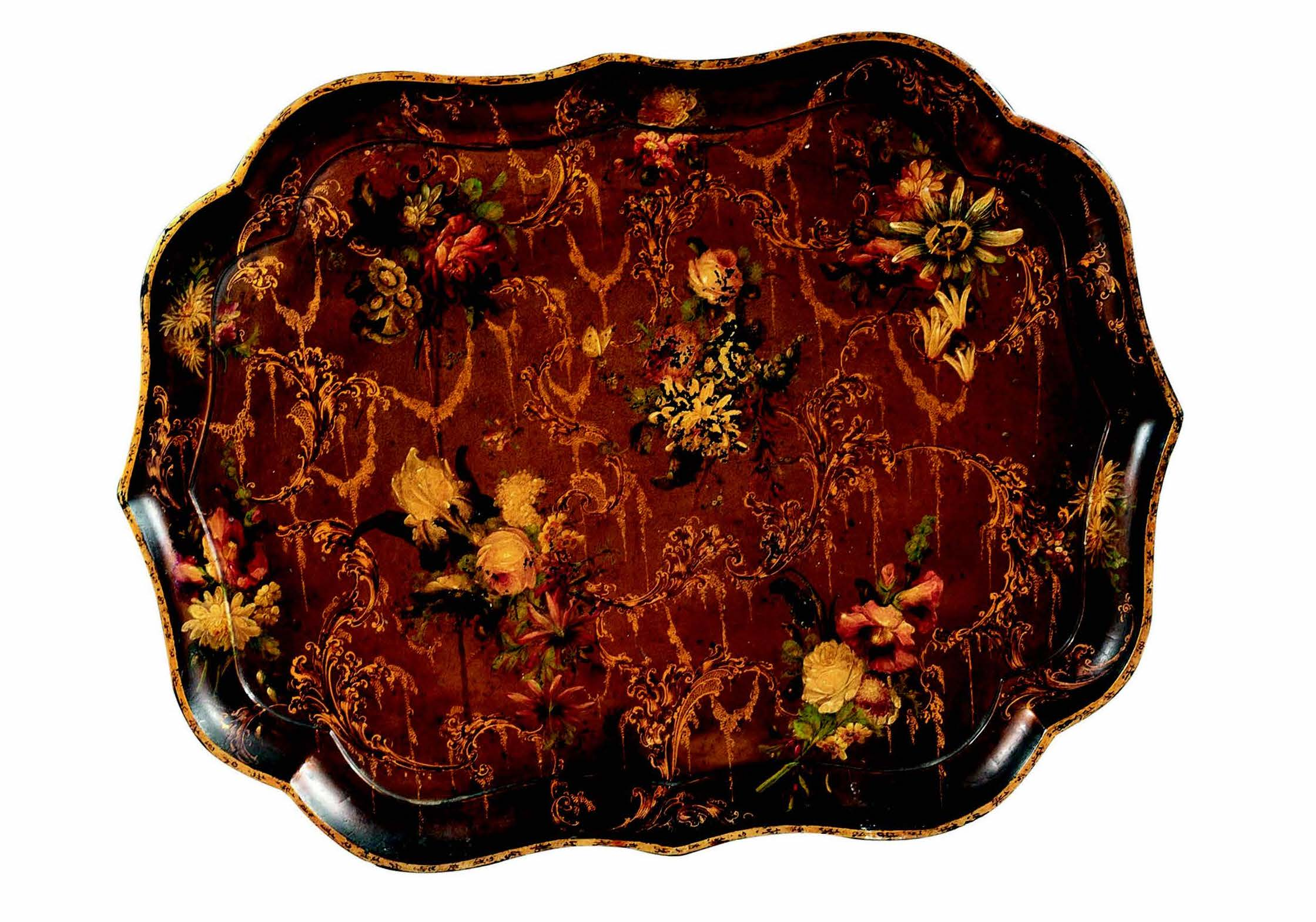 A large handpainted papier-mâché shaped tray impressed to verso by the Royal Makers Jennens & Bettridge, London, c.1830