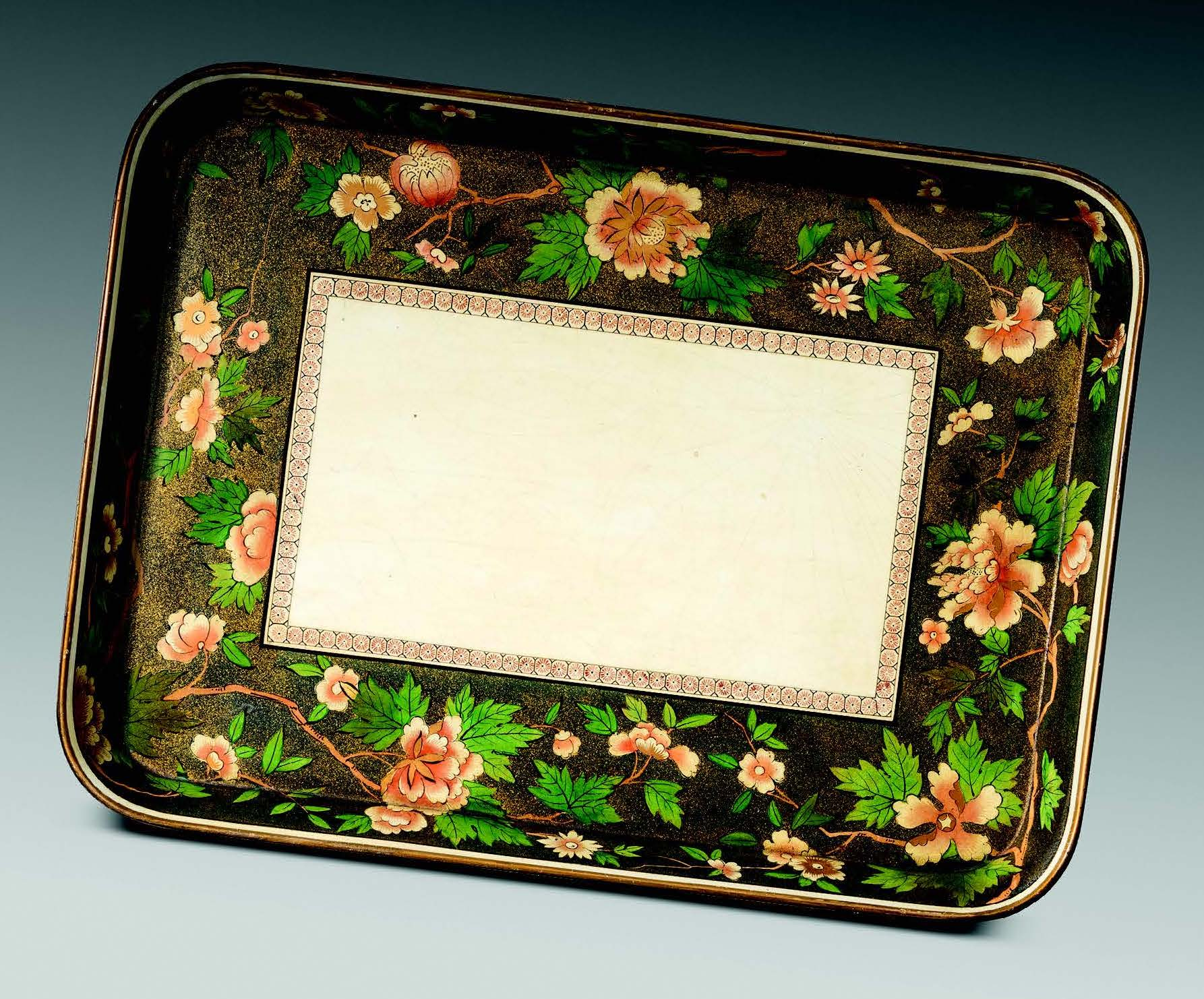 Rare white ground early 19th century tray. Attributed to Dyson & Benson of Clerkenwell