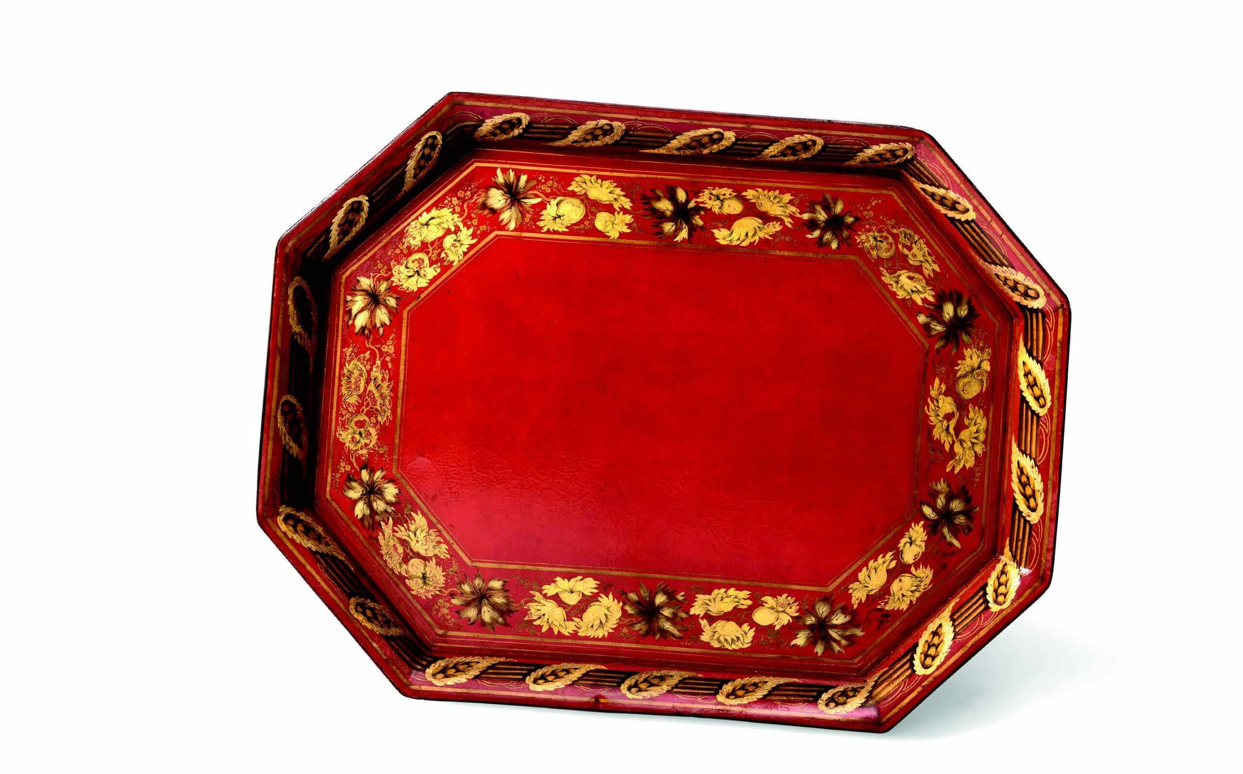 Large Regency period scarlet ground octagonal tray. Attributed to Henry Clay