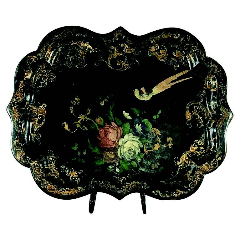 19th-century papier mâché serving tray with hand-painted scene with lacquered finish