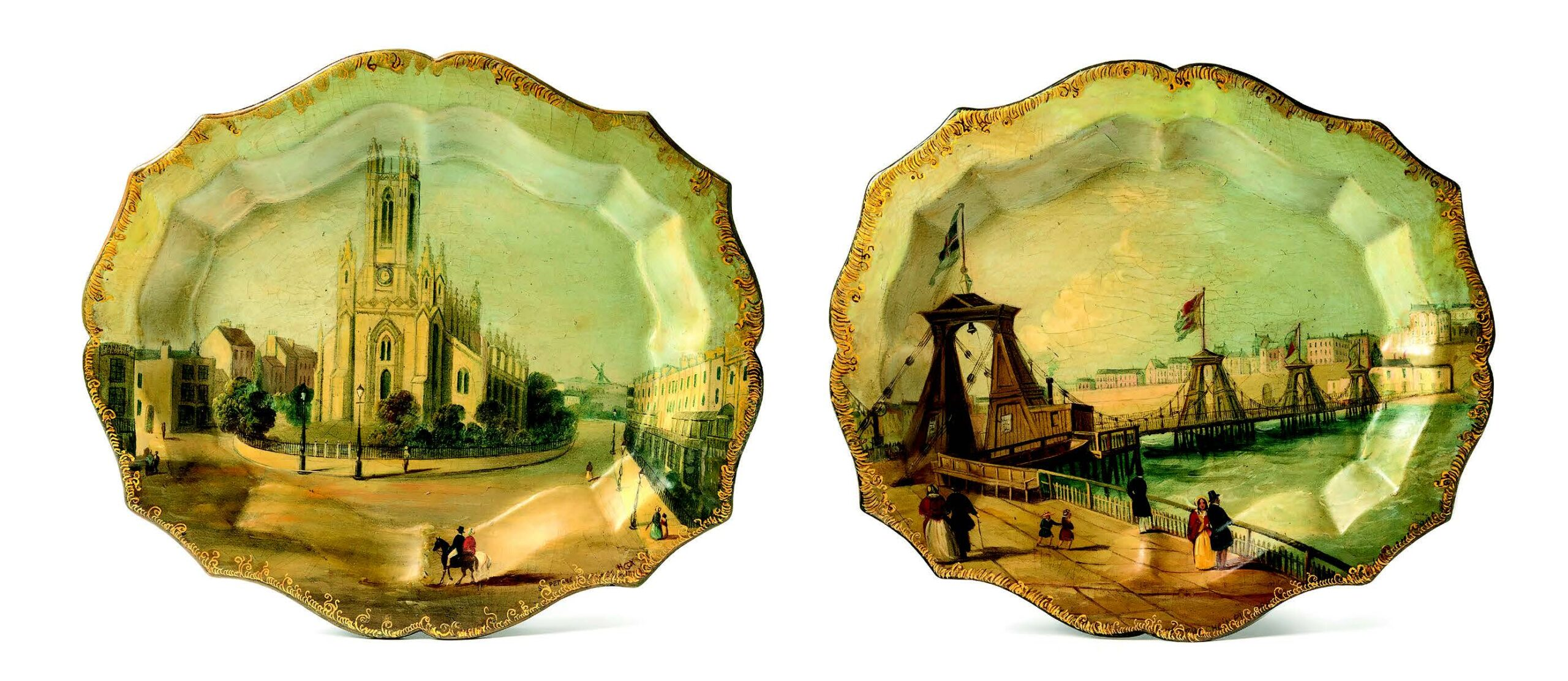 Views of Brighton, St Peter's Church & The Chain Pier. Each tray is signed by H.Cox