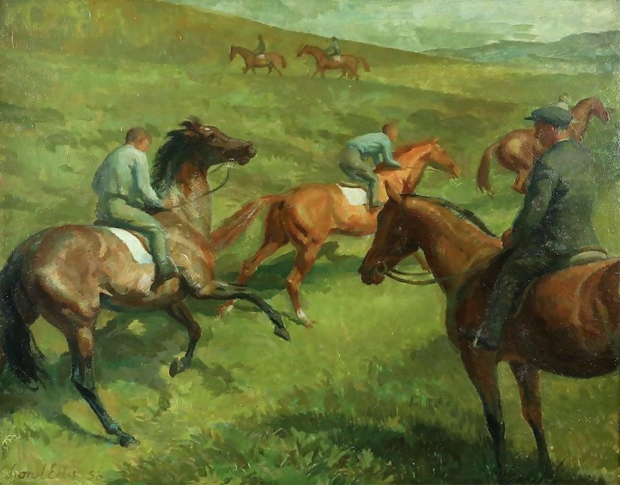 Lionel Ellis (1903-1988) Horsemen on a hillside. Oil in board 1956
