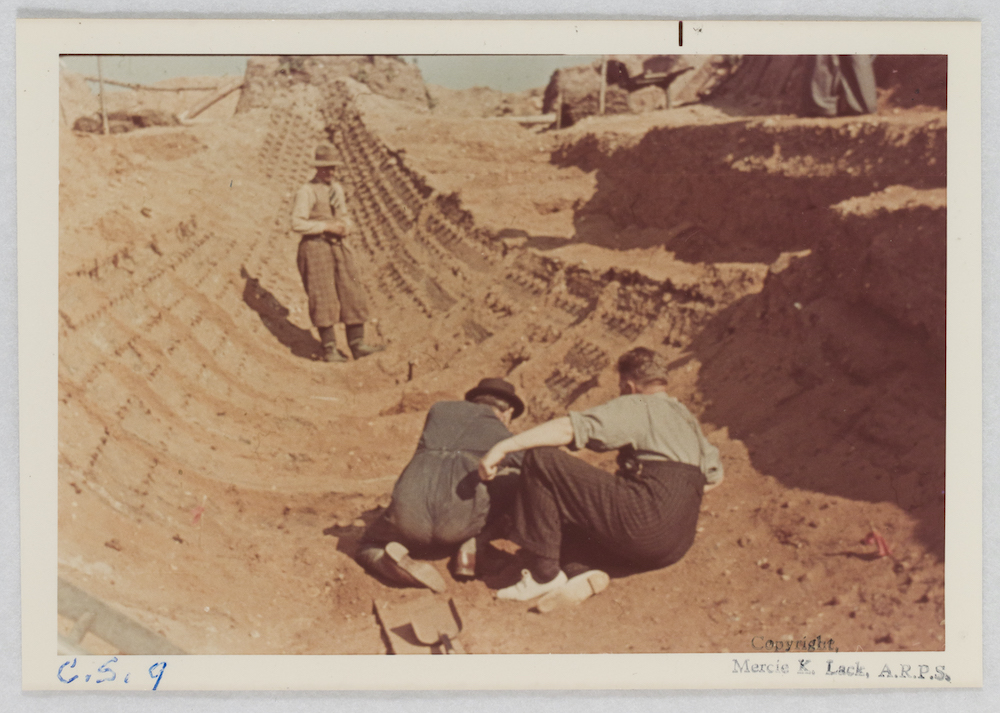 The prow of Sutton Hoo ship during excavation