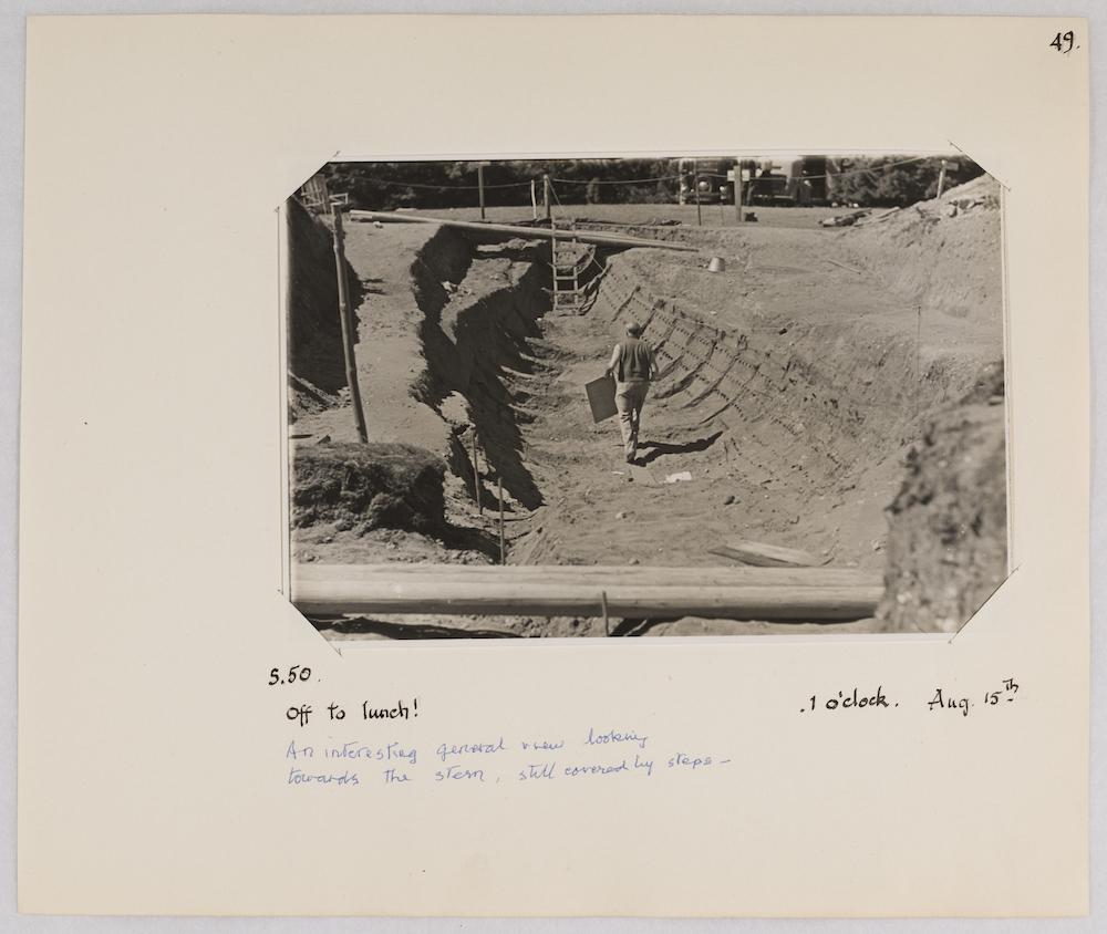 Artist William Palmer Robins at the Sutton Hoo excavation