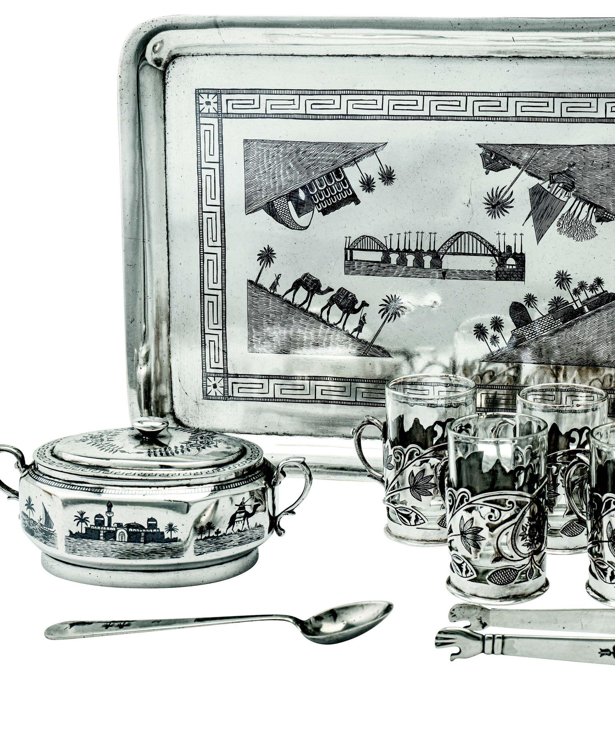 Antique silver niello ware from Iraq