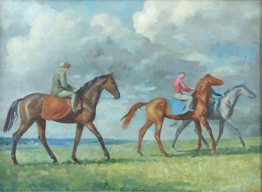 Lionel Ellis (1903-1988) Riders in a landscape. Oil on canvas, unsigned