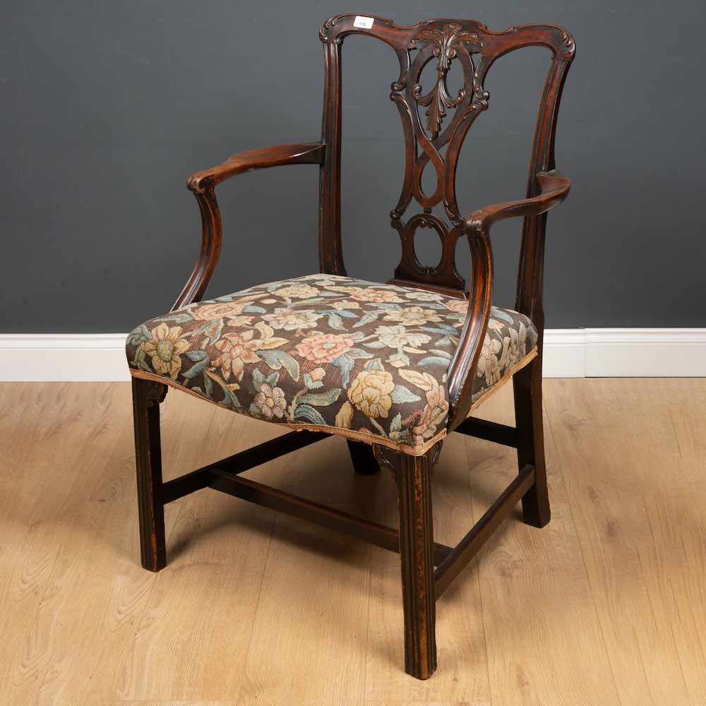 19th century carved mahogany open armchair