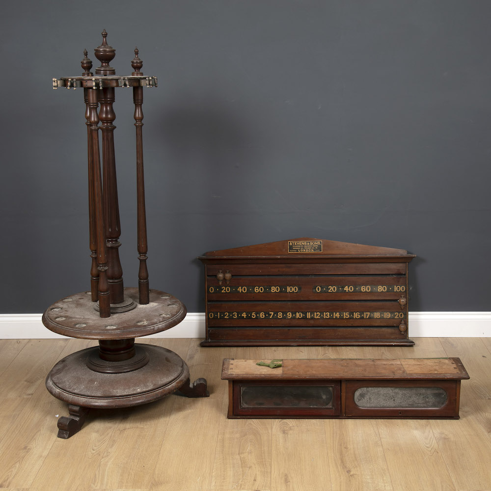 Mahogany snooker collectables