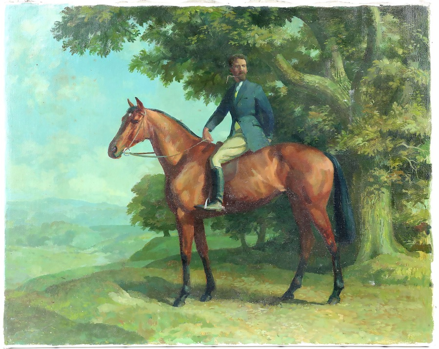Lionel Ellis (1903-1988). Rider on a Bay Horse in a landscape. Oil on canvas. Signed on stretcher verso. 41 x 51cm. Estimate £300-400.