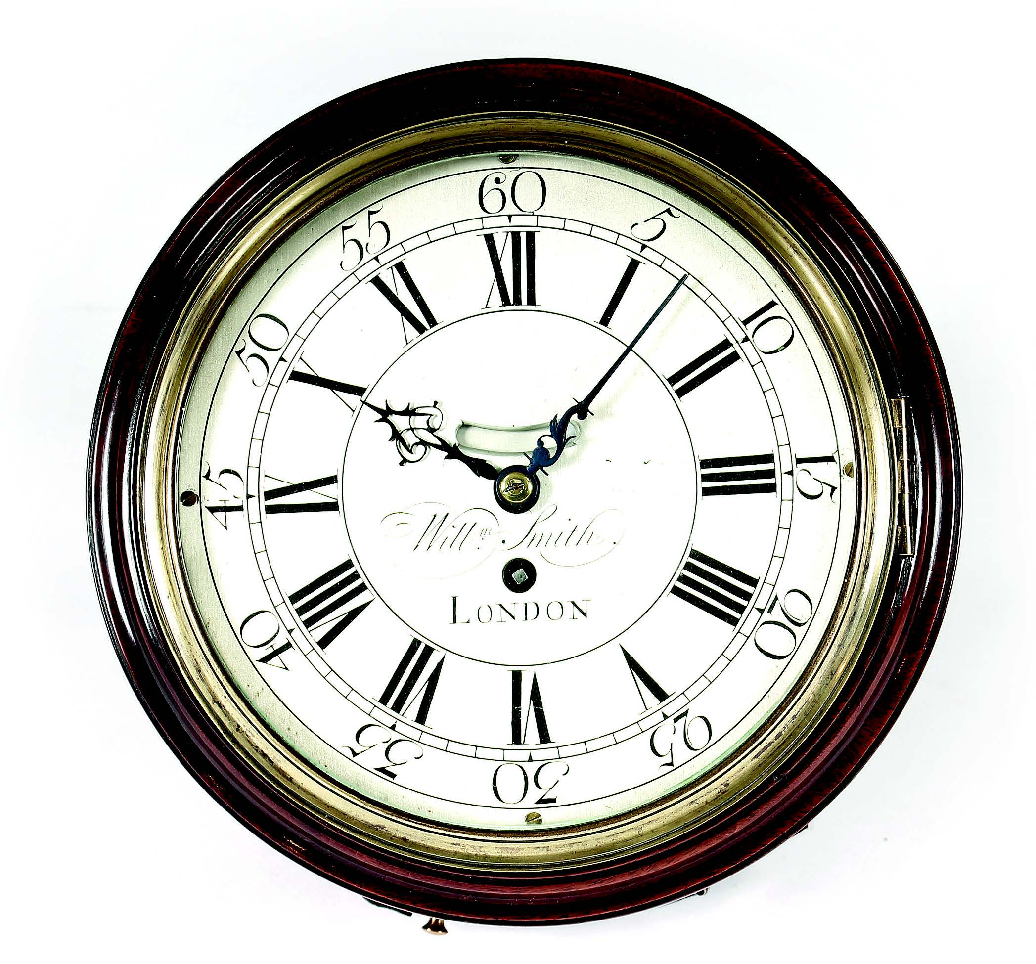 18th-century 8-inch silvered dial wall clock