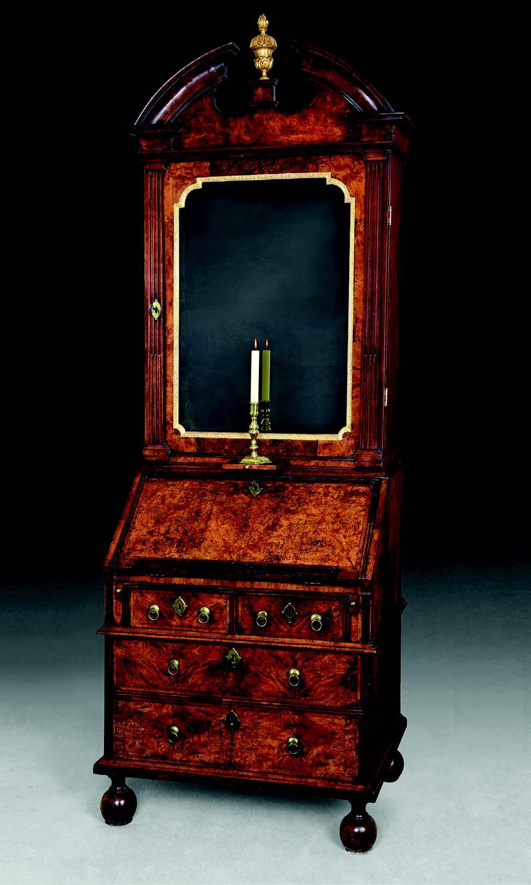 Early 18th-century burr walnut bureau bookcase
