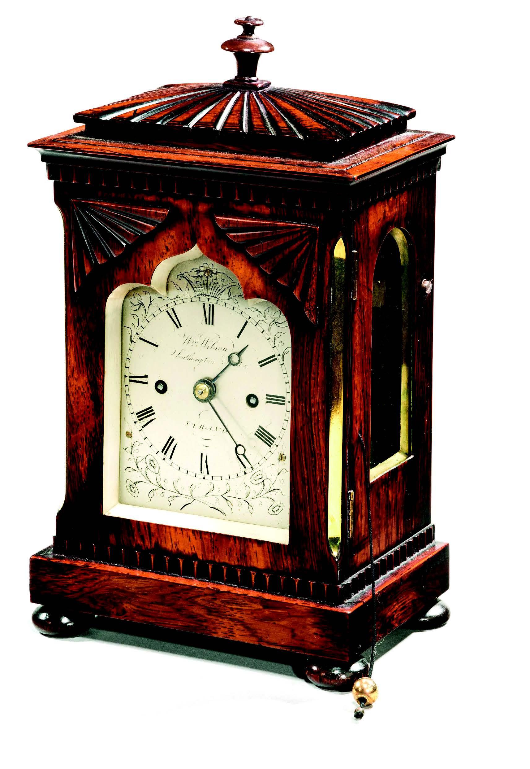 William IV period table library clock, c. 1835