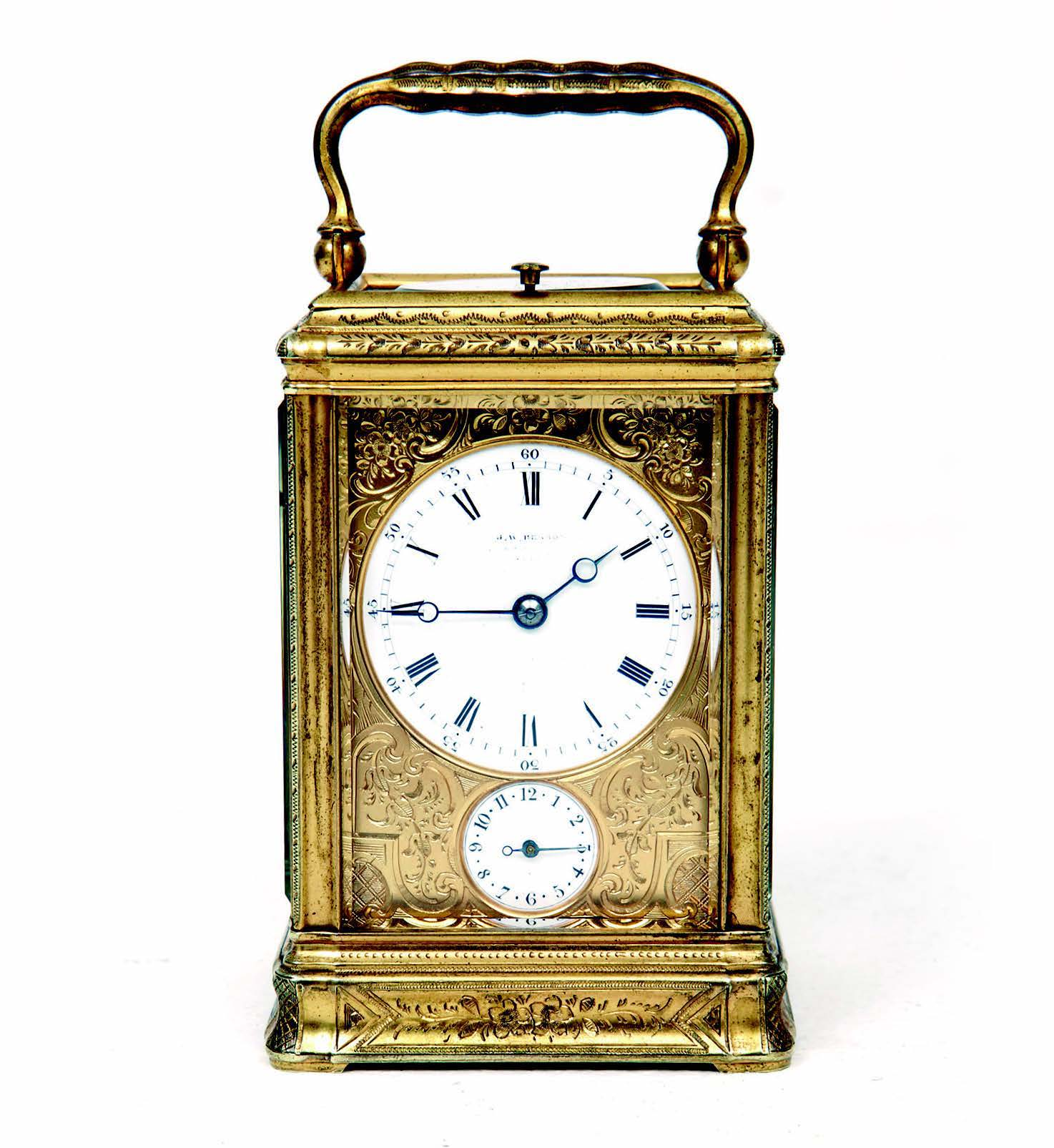 19th-century French gorge cased repeating carriage clock