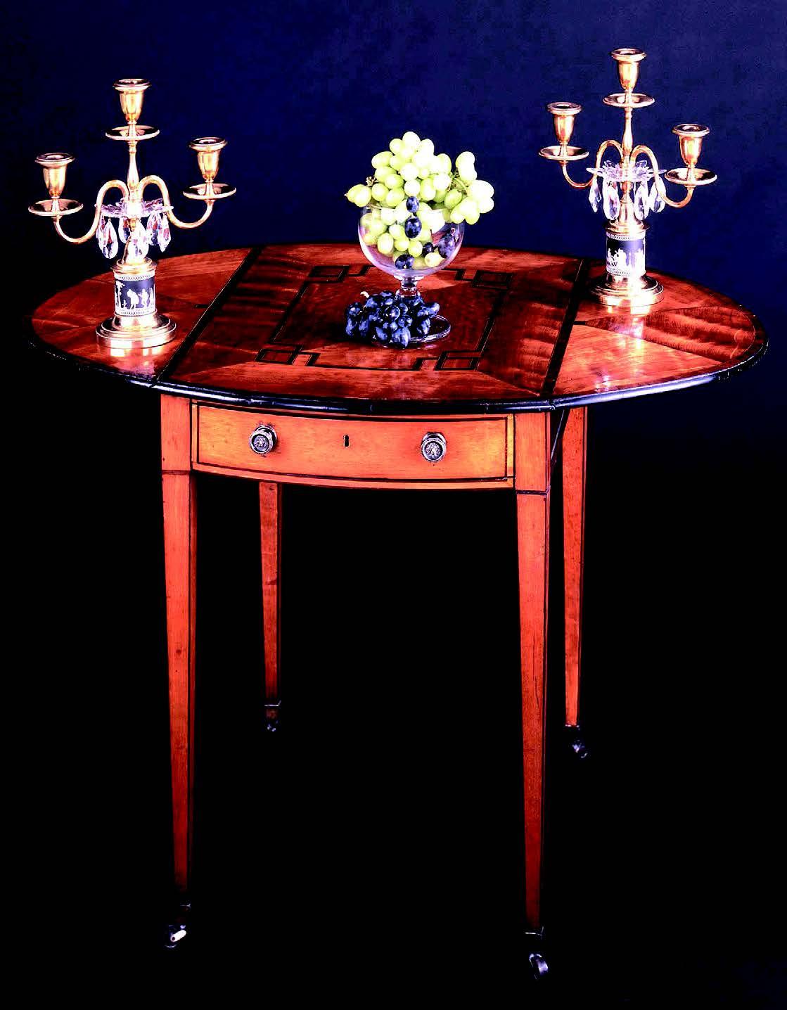 George III satinwood and rosewood inlaid oval Pembroke table, c. 1785