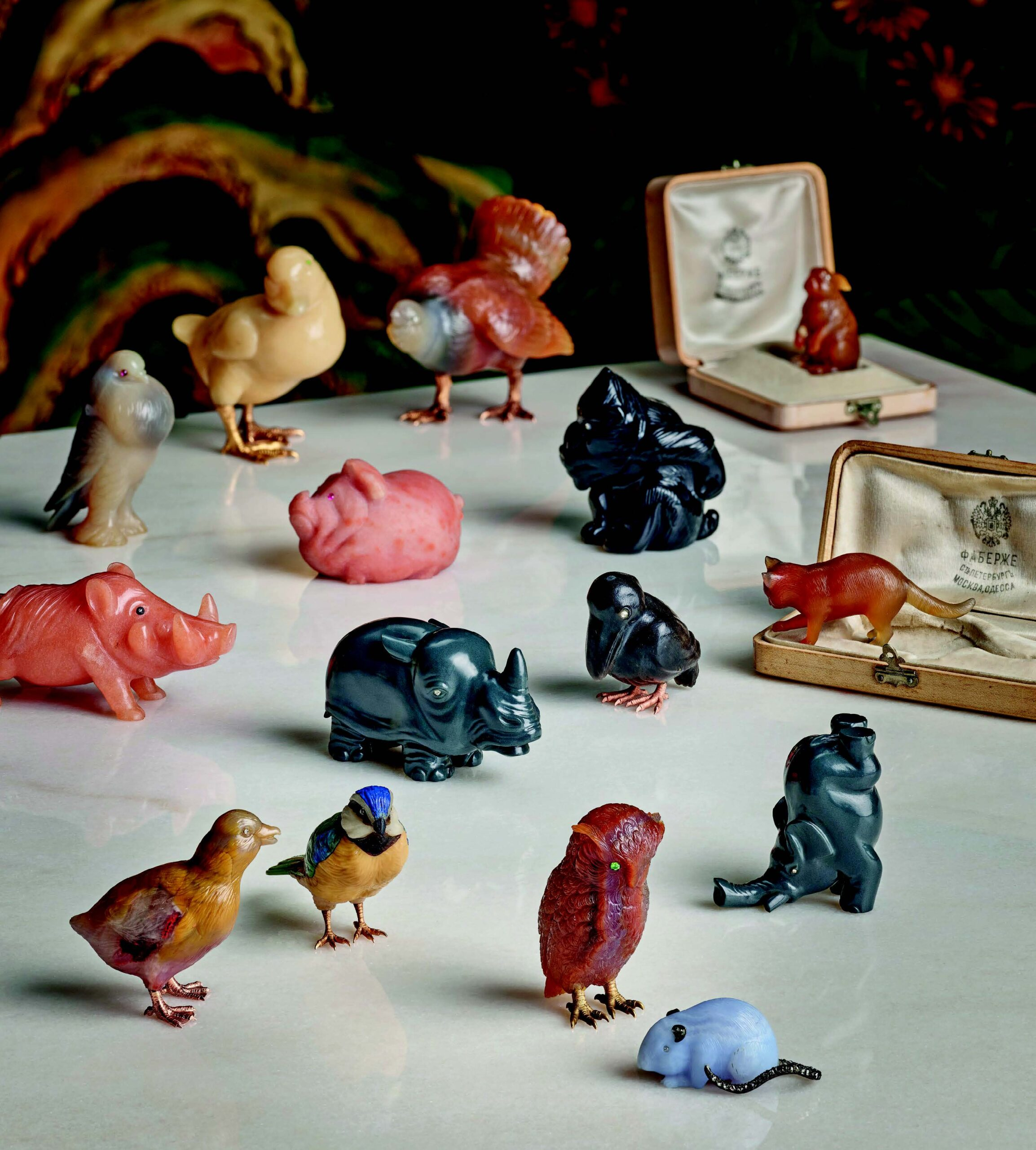 a collection of hardstone carved animalsby Fabergé