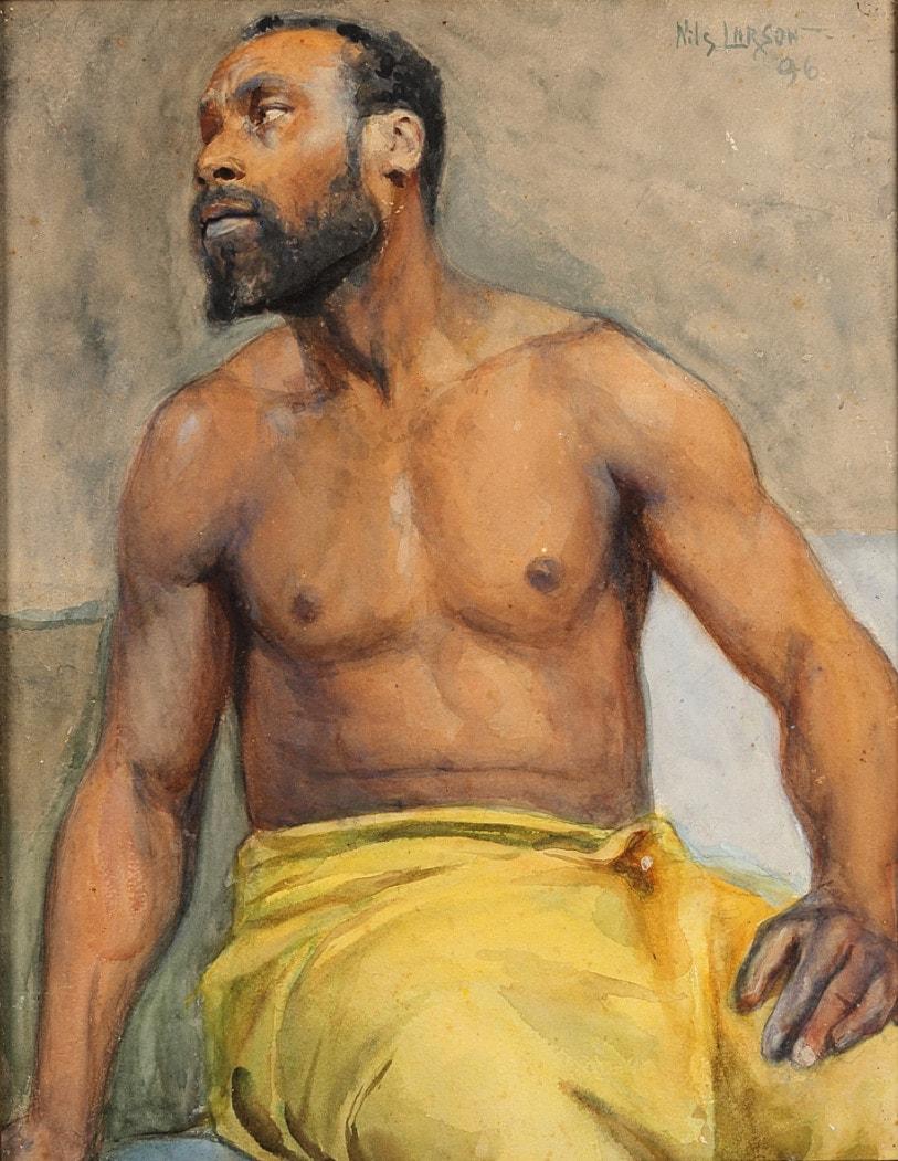 Nils Larson (Sannäs 1872 - Gothenburg 1914),  A study of the model Pierre Louis Alexandre,  Watercolour on paper, 52.8 x 42.1 cm.  Image courtesy of Elliott Fine Art