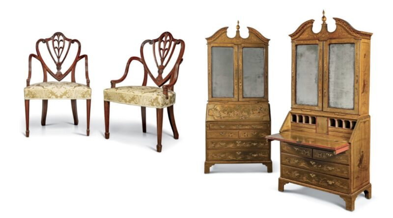 Pair of George III mahogany open armchairs and