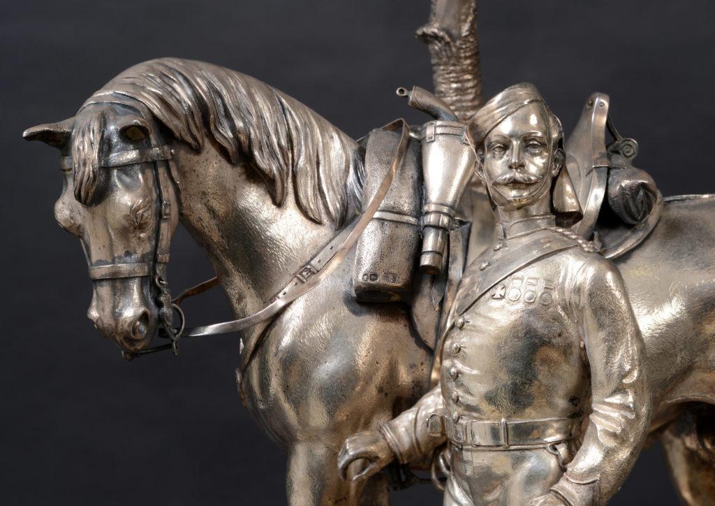 9th Lancers silver centrepiece detail