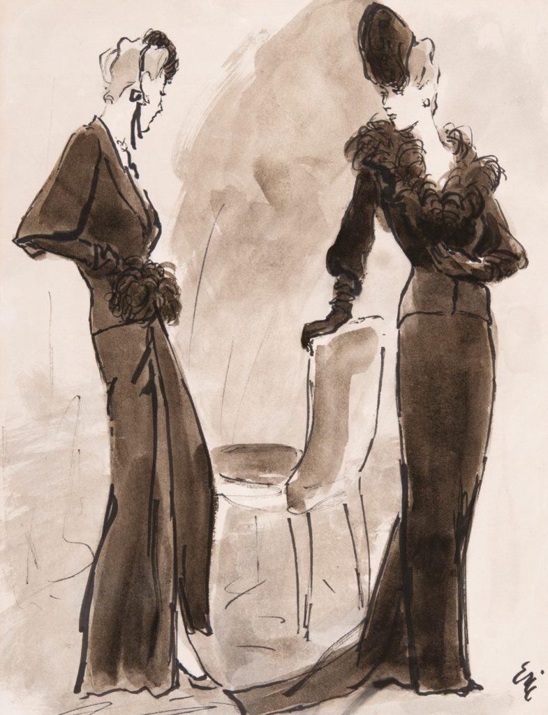Carl 'Eric' Erickson, fashion illustration for Schiaparelli fashions