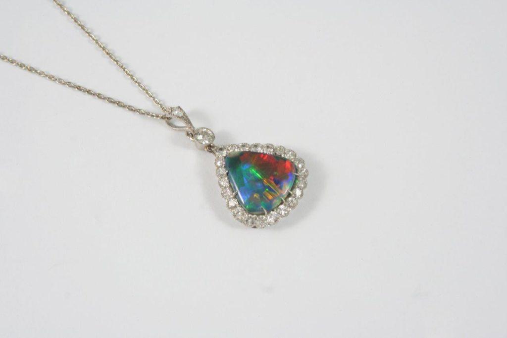 The Somerset jewellery sale included an Australian black opal and diamond pendant