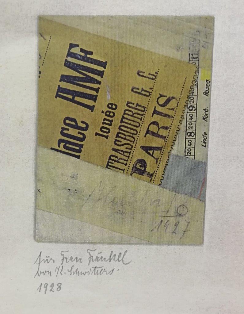 Kurt Schwitters collage inscribed 'Für Frau Frenkel'