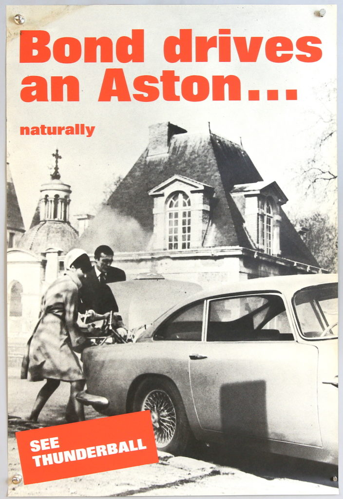 An unusual 'Bond Drives an Aston...Naturally' poster has been valued at between £1,000 and £2,000