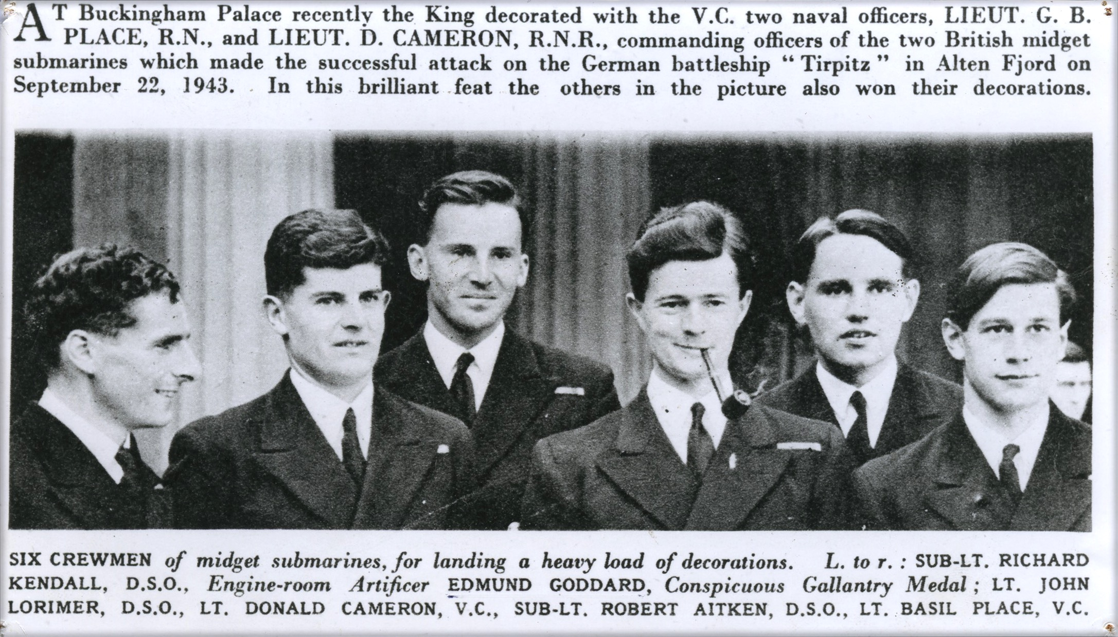 A newspaper clipping from the medal award ceremony